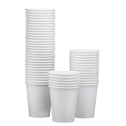 NYHI 50-Pack White Paper Disposable Cups – Hot/Cold Beverage Drinking Cup for Water, Juice, Coffee or Tea – Ideal for… |