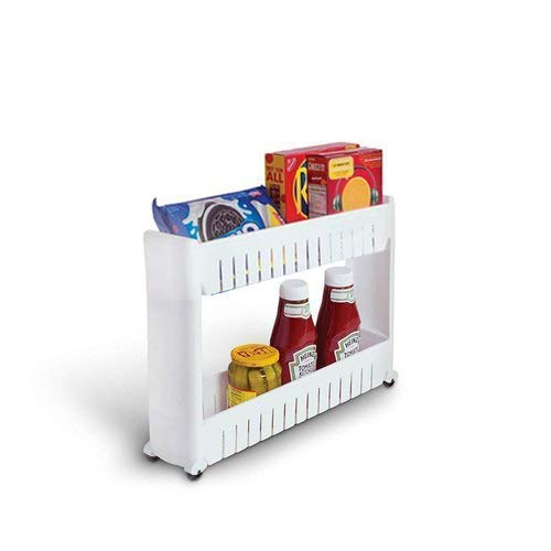 SRJMH® 2 Layer Slim Side Space Saving Storage Organizer Rack Shelf with Wheels for Kitchen Bathroom Bedroom (2 Layer)