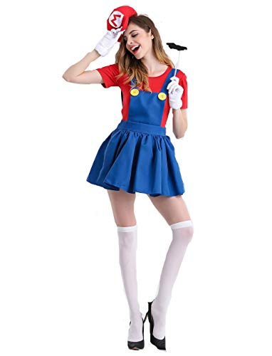 Mario Skirt Suit for Women's Role-Playing Costume Fancy Dress Party Halloween -