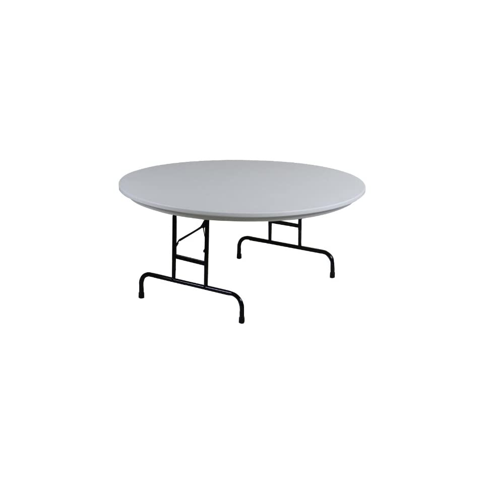 Correll RA60 23 R series, Adjustable Height Blow Molded Plastic Commercial Duty Folding Table, 60 Round, Gray Granite