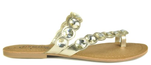 (Kenneth Cole Unlisted Womens Coin Charm Gold Mirror Metallic PU Sandal 6 M)