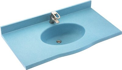 Swan EV02255.126 Europa Solid Surface Single-Bowl Vanity Top, 55-in L X 22-in H X 6.875-in H, Cloud Bone