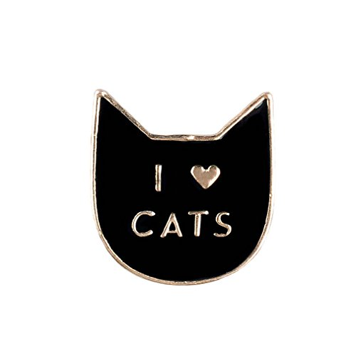 Souarts Womens 3D Enamel Brooch Pin Badge for Clothes Bags Backpacks Lapel Pin (Black I Love Cats Pattern) ()