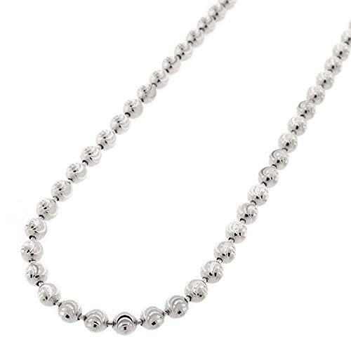 (Sterling Silver Italian 4mm Ball Bead Moon Cut Solid 925 Rhodium Necklace Chain 24