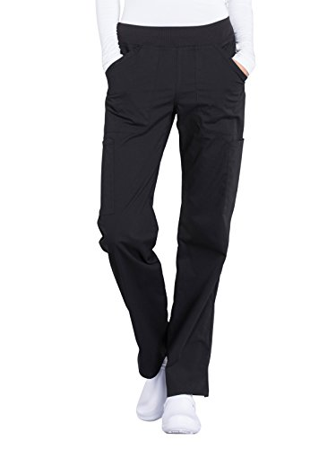 Cherokee WW Professionals WW170 Mid Rise Straight Leg Pull-On Pant Black L - Women Scrub Pants Tall