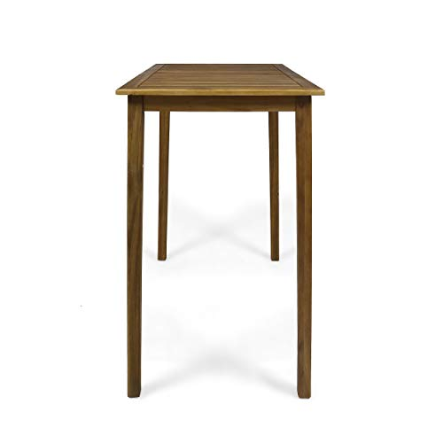 Great Deal Furniture Teresa Outdoor Minimalist Acacia Wood Rectangle Bar Table - Teak Finish by Great Deal Furniture (Image #4)
