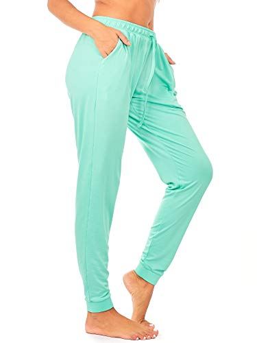 DEAR SPARKLE Jogger with Pockets for Women Drawstring Lightweight Sweats Yoga Lounge Pants + Plus Size (P7) (Mint, Large) ()