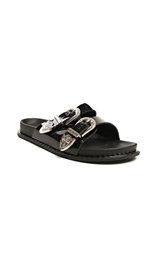 On Womens Ikrush Buckled Black Sandal Lacey Slip Double 7F7SwXfqa