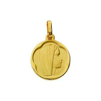 So Chic Bijoux © Pendentif Mixte - Or Jaune 375/000 (9 carats) 1,05gr - Diamètre: 13mm (hors bélière) - Médaille Ronde Satinée Vierge Marie de Profil