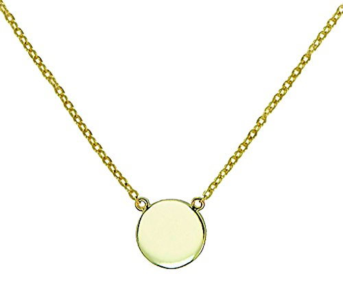 Simple Disk Round Pendant Necklace .925 Sterling Silver Gold Tone Finish 16