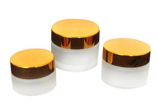 3PCS Empty Refillable Frosted Glass Bottle Cream Essential Oils Jars Cosmetic Container with Gold Lid/Cap for Travel and DIY Beauty - Mill Jar