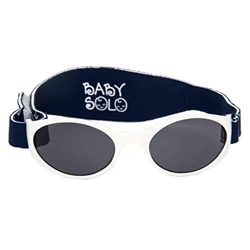 Baby Solo Babyfarer Baby Toddler Sunglasses/Infant Newborn Sunglasses (0-36 months, Sail Away Frame w/Solid Black Lens)