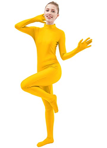 Ensnovo Womens One Piece Unitard Full Body Suit Lycra Spandex Skin Tights Yellow,XS -