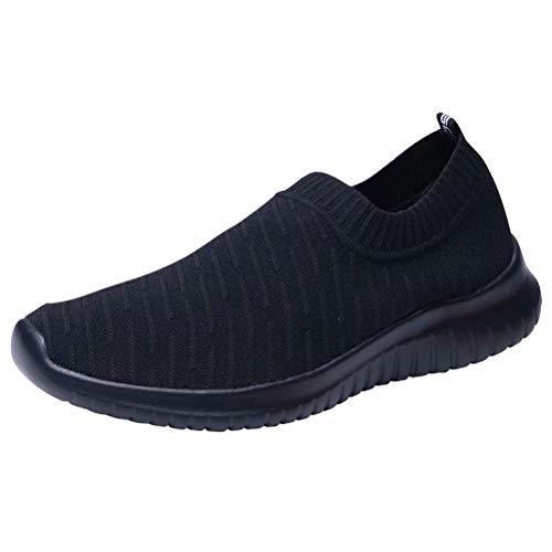 KONHILL Women 's Walking Tennis Shoes - Lightweight Athletic Sport Gym Slip on Sneakers, All Black, 40