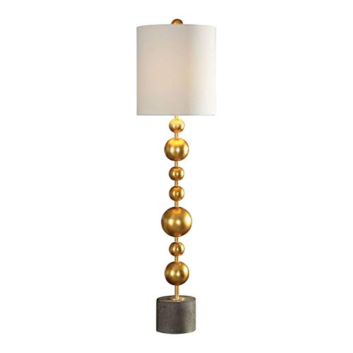 (Selim Metallic Gold Leaf Stacked Spheres Buffet Table Lamp)