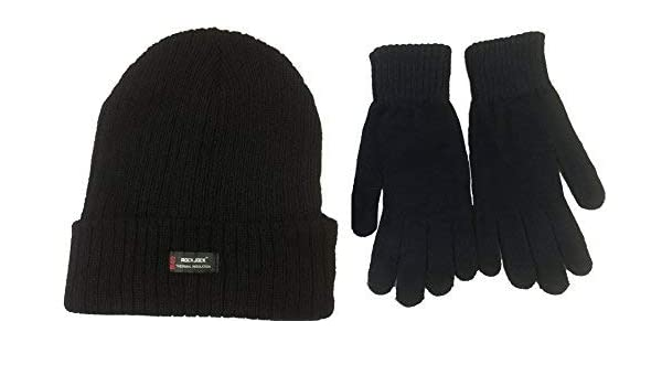 Amazon.com   TFNI-THINSULATE-HANDY Mens Black Thermal Thinsulate Winter Hat  and Handy Thermal Gloves Set   Sports   Outdoors 0d246739039e