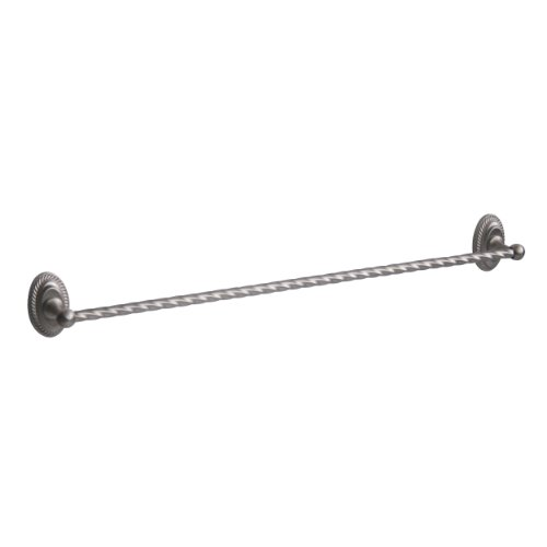 Elegant Home Fashions Swirl 18-Inch Towel Bar, Brushed Satin (Elite Towel Ring)