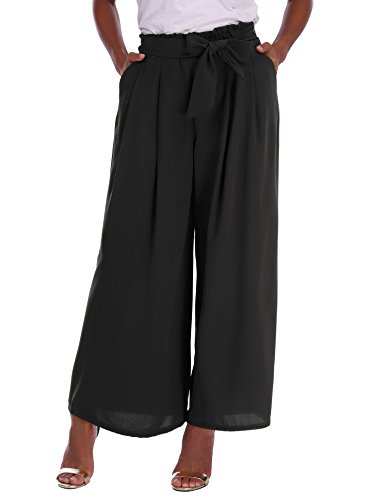 Abollria Women Ladies Trousers High Waisted Elasticated Casual Loose Wide Leg Palazzo Pants (Jersey Trousers Black)