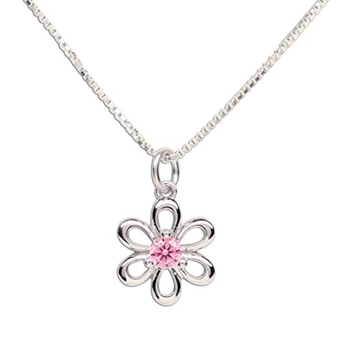 Girls Sterling Silver Daisy Simulated October Birthstone Necklace for -