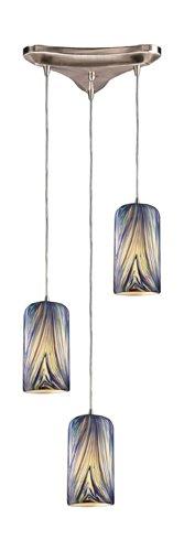- Elk 544-3MO 3-Light Pendant in Satin Nickel and Molten Ocean Glass