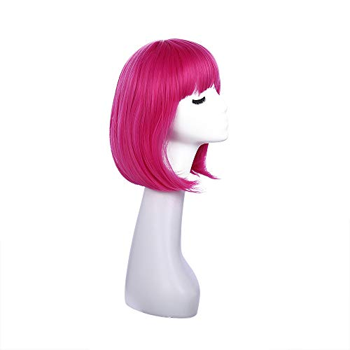 12 inch Short Bob Hair Wigs For Women Short Straight Hair wigs for round face girls (Rose red)