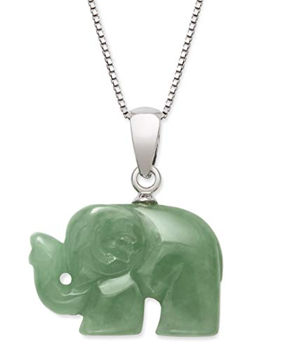 Jade Silver Necklace - Sterling Silver Genuine Green Jade Elephant Necklace,18