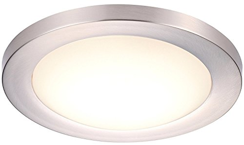 Cloudy Bay 12 inch LED Flush Mount Ceiling Light 4000K Cool White Dimmable 17W 1100lm -120W Incandescent Equivalent,Brushed Nickel Finish