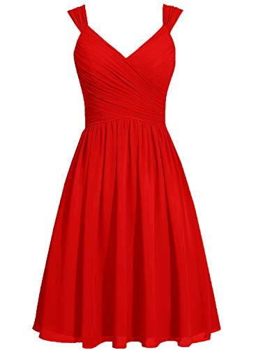 Mujer Rojo Para Sin Vkstar Mangas Vestido Cóctel qZ7X4
