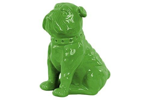 Urban Trends Ceramic Sitting British Bulldog Figurine with Collar Gloss Finish Green from Urban Trends