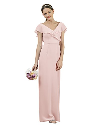 Alicepub Long Chiffon Bridesmaid Dress Prom Gown V-Neck Bridal Party Evening Dress, Pearl Pink, (Pearl V-neck)
