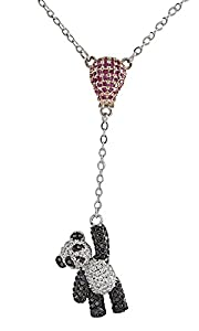 AFFY Panda Balloon Pendant Necklace in Black & White Cubic Zirconia 14K White Gold Over Sterling Silver