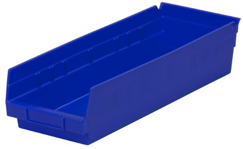 Akro-Mils 30138 18-Inch by 6-Inch by 4-Inch Plastic Nesting Shelf Bin Box, Blue, Case of 12 (Tables Nesting Cube)
