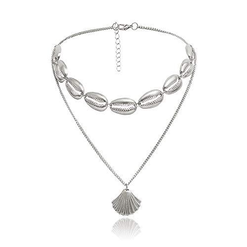 (RUIZHEN Bohemia Shell Choker Collar Seashell Choker Necklace for Women Girls Statement Jewelry Gifts (Silver))