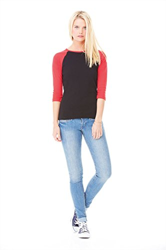 Bella Canvas- Camiseta de mangas 3/4 para chica/mujer White/Red