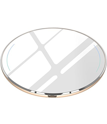 TOZO for iPhone X Wireless Charger, [Ultra Thin] Aviation Aluminum [Sleep-friendly] Wireless Fast Charging Pad for iPhone X / 10 / 8 / 8 Plus, Samsung Galaxy S8, S8+, Note 8 [Gold] - NO AC Adapter