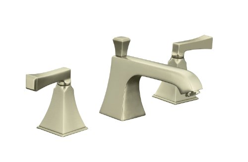 Deco Widespread Lavatory Faucet - KOHLER K-454-X4V-CP Memoirs Widespread Lavatory Faucet with Stately Design, Red and Blue Indexing and Deco Lever Handles, Polished Chrome
