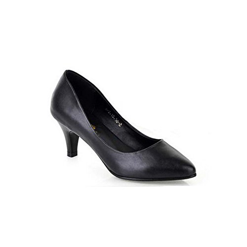 Vogue002 Womens Round Toe High Heels Frosted PU Solid Pumps with Platform, Black, 4.5 UK
