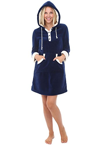 Alexander Del Rossa Womens Fleece Nightgown, Hooded Pullover Lounger with Pockets, Medium Navy Blue (A0308NBLMD)