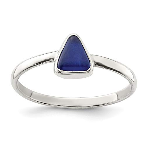 Sea Glass Bezel - 925 Sterling Silver Polished Blue Sea Glass Triangle Ring Size 6