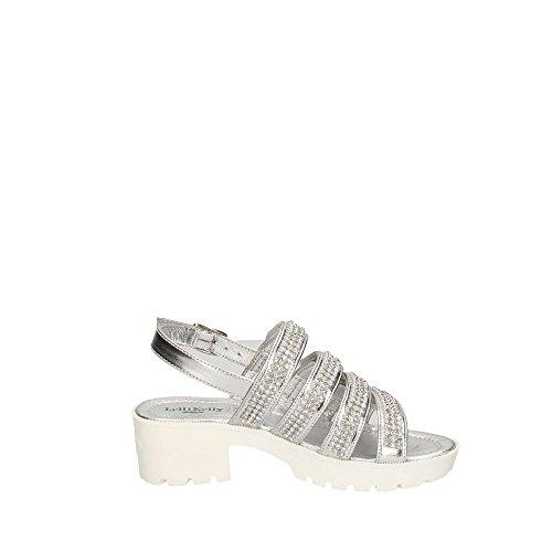 LELLI KELLY - Weiße Sandale aus Leder, mit einem charmanten Design, auf den vorderen Bändern Strass-Applikationen, Mädchen Silber