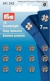 - PRYM 7 mm 12 Set Brass Sew On Snap Fasteners, Silver - 341242