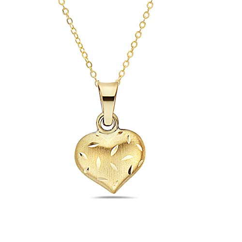 - Pori Jewelers 14K Solid Gold Heart Pendant Necklaces- in Real 14K Gold 16