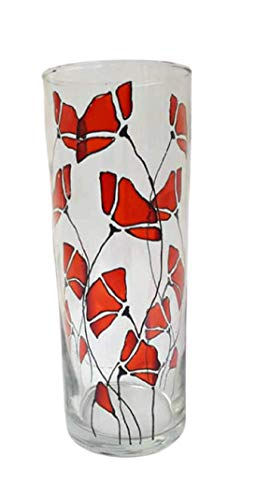 Red Poppy Flower Hand Painted Stained Glass 9 Inch Cylinder Vase Home Decor 1