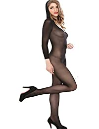 Xinkaishi Womens Hooded Long Sleeve Open Crotchless Catsuit Bodystocking (Black Color with Sleeve)