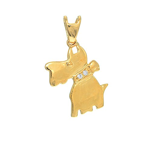 JewelStop 14K Real Yellow Gold Schnauzer Dog Charm Pendant, 1.1gr.