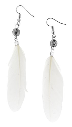 Unique Cute Beaded Feather Earrings Sexy Fashion Jewelry for Women Teens Girls (Disco Ball White) (Sexy Indian Man)