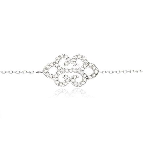 Tous mes bijoux - Bracelet - Or blanc 9 cts - Diamant 0.19 cts - 18 cm - BRHR01004
