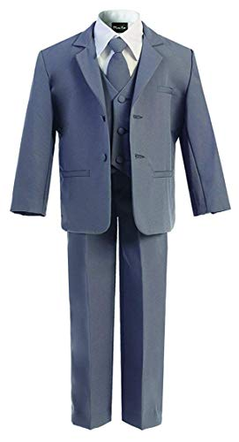 OLIVIA KOO Boys Classic Suit Set with Cloth Cover Buttons Medium Darkgrey -