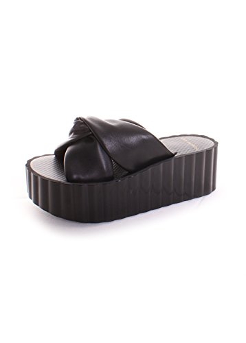 Tory Burch Knotted Scallop Wedge Slide 9 Perf Black