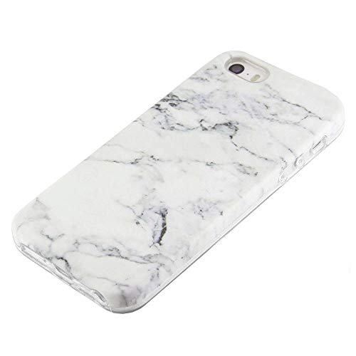 uCOLOR White Marble Case Compatible for iPhone SE 5S 5 Cute Protective Dual-Layer Soft TPU Shockproof Slim Case for iPhone SE 5S 5 ...